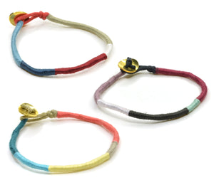 Bracelet Cotton Wrap with Brass Closure - 3pc
