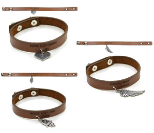 Bracelet Leather with Silver Charm