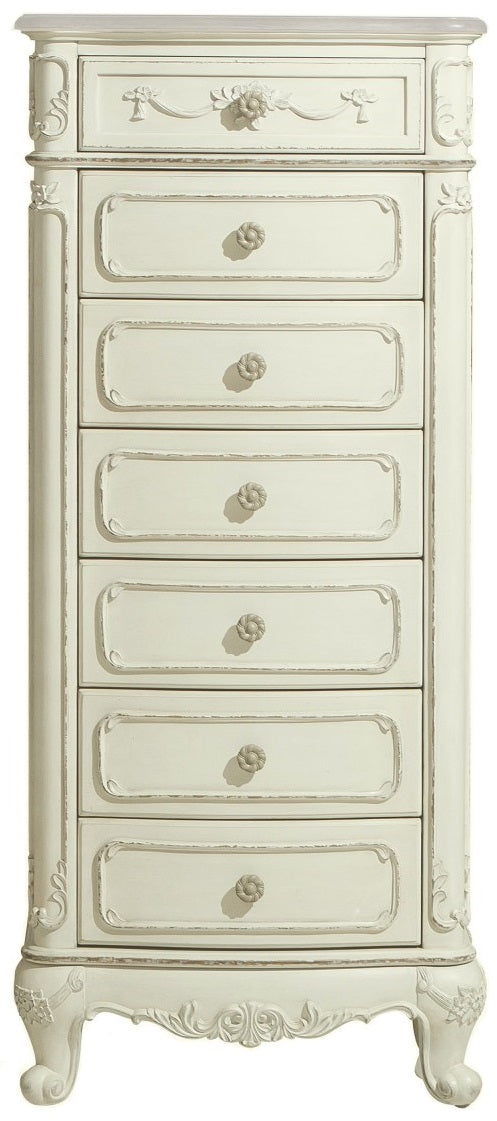 Homelegance Cinderella 7 Drawer Tall Chest in Ecru White 1386-12 image