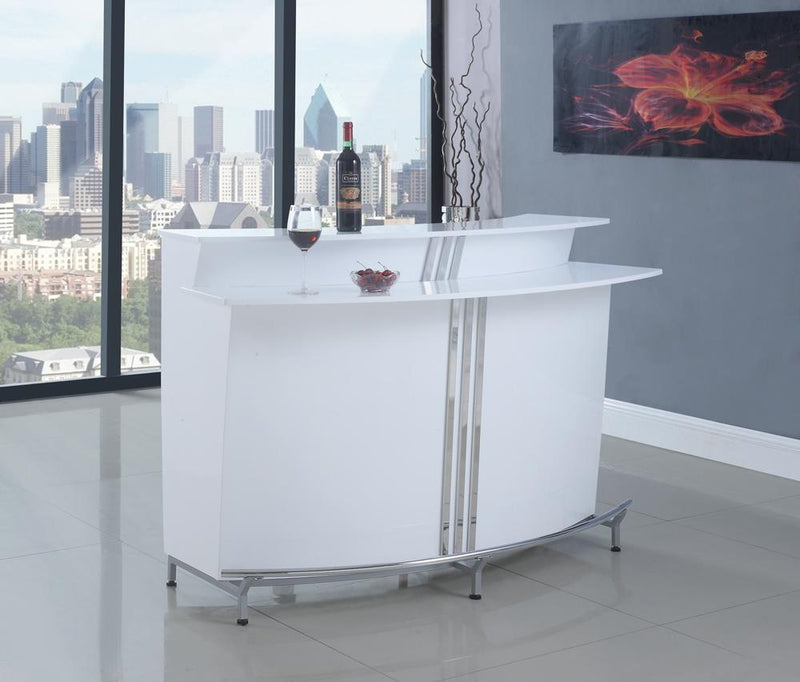 G180239 Contemporary White Bar Unit With Stemware Racks image