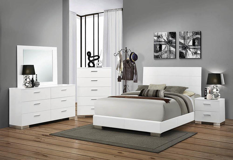 Felicity Contemporary Glossy White Eastern King Bed image