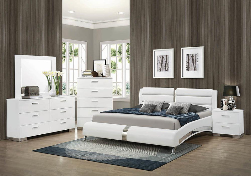 Felicity Contemporary White Upholstered Eastern King Bed image