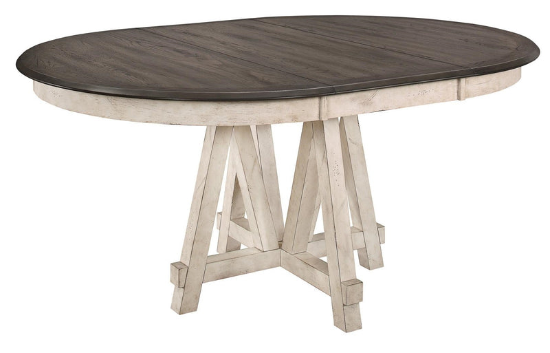 Homelegance Clover Round Dining Table in White and Gray 5656-66* image