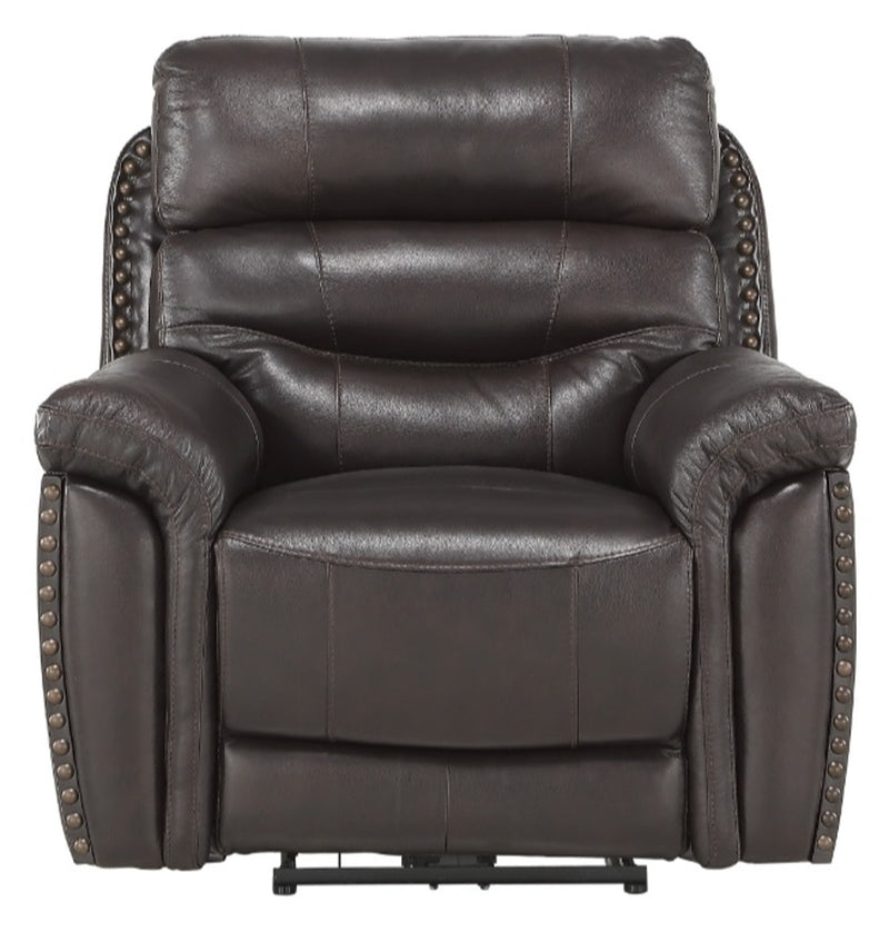 Homelegance Furniture Lance Power Reclining Chair with Power Headrest and USB Port in Brown 9527BRW-1PWH image