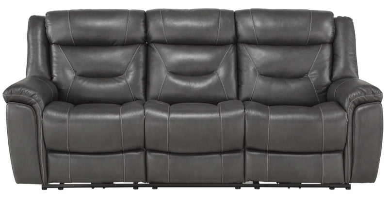 Homelegance Furniture Danio Power Double Reclining Sofa with Power Headrests in Dark Gray 9528DGY-3PWH image