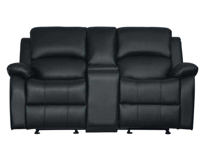 Homelegance Furniture Clarkdale Double Glider Reclining Loveseat in Black 9928BLK-2 image