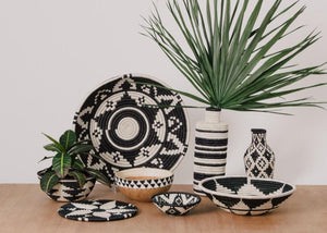 Wooden Bowl with Beaded Design - Black and White - Earthnic Lifestyle
