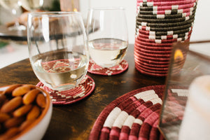 Sisal and Sweet Grass Handwoven Coasters Set of 4 - Mauve - Earthnic Lifestyle