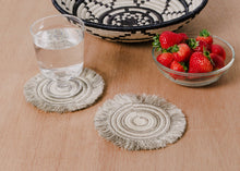 Load image into Gallery viewer, Sisal Fiber and Sweet Grass Fringe Coaster Set of 4 - Taupe - Earthnic Lifestyle