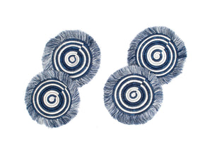 Sisal Fiber and Sweet Grass Fringe Coaster Set of 4 - Blue Night - Earthnic Lifestyle