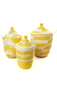 Set of Three Yellow Handwoven White Mixed Pattern Hampers - Earthnic Lifestyle