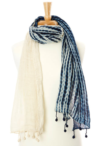 Artisan Handmade Cotton Cloud Scarf - Indigo - Earthnic Lifestyle