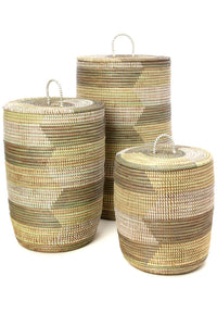 Set of Three Handwoven White, Cream & Gray Sahara Hamper Baskets - Earthnic Lifestyle