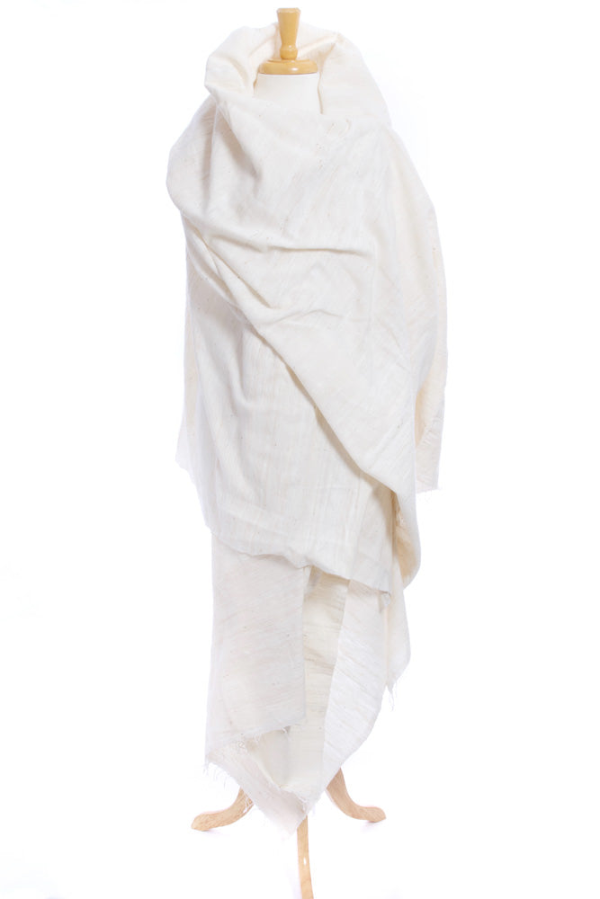 Organic Cotton Ethiopian Gabi Body Shawl - Ivory - Earthnic Lifestyle