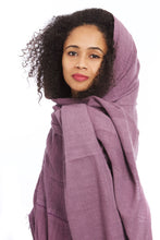 Load image into Gallery viewer, Organic Cotton Ethiopian Gabi Body Shawl - Plum - Earthnic Lifestyle