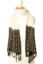 Load image into Gallery viewer, Artisan Handmade Organic Cotton Open Weave Scarf - Black Mudcloth - Earthnic Lifestyle