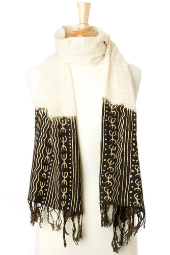 Artisan Handmade Organic Cotton Open Weave Scarf - Black Mudcloth - Earthnic Lifestyle