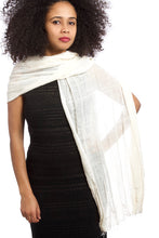 Load image into Gallery viewer, Organic Cotton Shawl from Ethiopia - Ivory - Earthnic Lifestyle