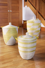 Load image into Gallery viewer, Set of Three Yellow Handwoven White Mixed Pattern Hampers - Earthnic Lifestyle