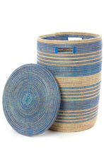 Load image into Gallery viewer, Set of Three Handwoven Blue Ebb & Flow Striped Hampers - Earthnic Lifestyle