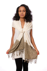 Artisan Handmade Organic Cotton Open Weave Scarf - Grey Mudcloth - Earthnic Lifestyle