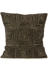 Black Segou Squares Organic Cotton Cushion - Earthnic Lifestyle