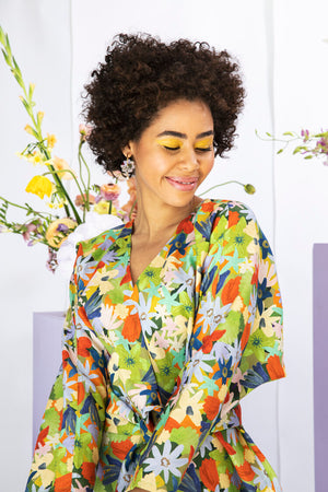 Linen Kimono - Flower Face - Dot and Frankie
