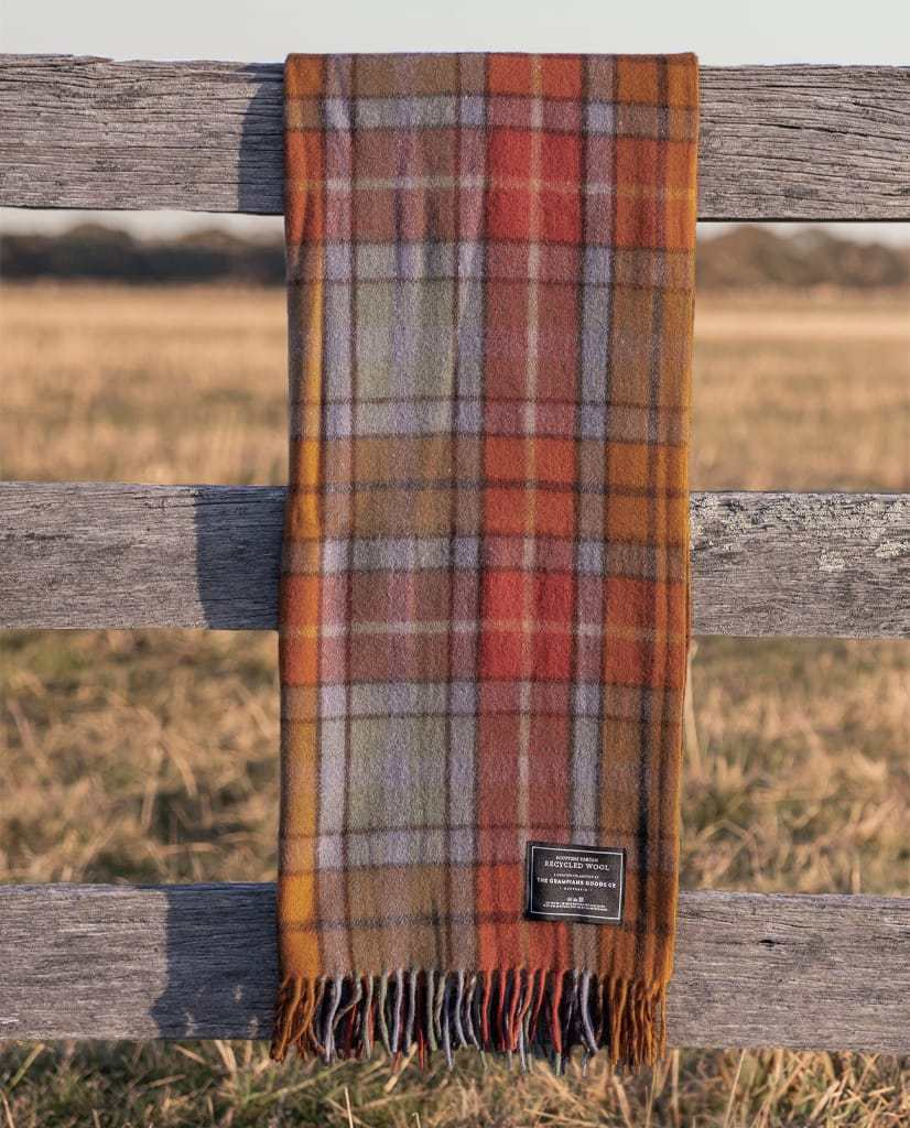 Recycled Wool Tartan Blanket - Autumn - Dot and Frankie