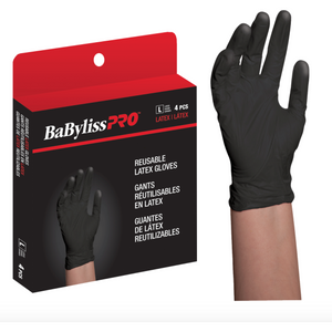 BaByliss Pro Reusable Latex Gloves - Black (4 Pack)
