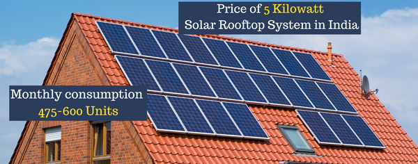 Price of 5 Kilowatt Solar Rooftop System in India