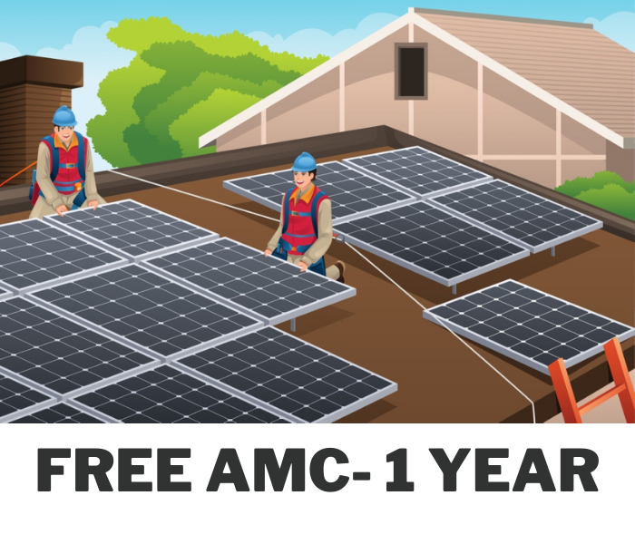 Loom Solar 3 kilowatt offgrid solar rooftop system installation with 1 Year AMC - Apollo Universe