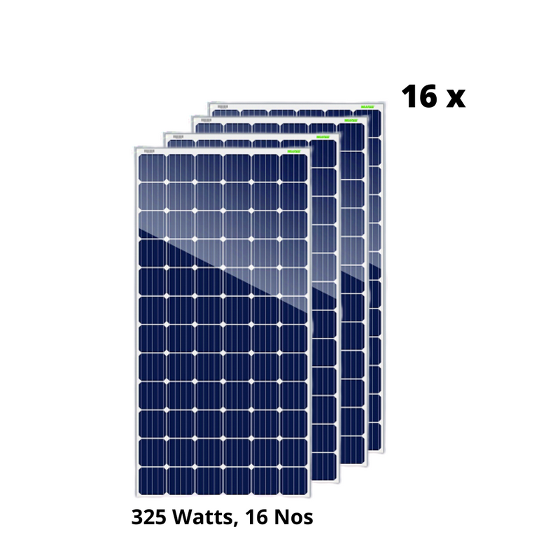 Waaree Energies 5.2 kilowatt offgrid solar rooftop system (Poly-Crystalline) installation with 1 year AMC - Apollo Universe