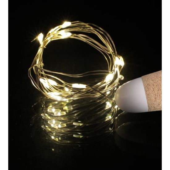 Apollo Lights- 20 LED Wine Bottle Cork Lights Copper Wire String Lights, 2M Battery Operated Wine Bottle Fairy Lights Bottle - Pack of 4, Warm White (Warm White) - Apollo Universe