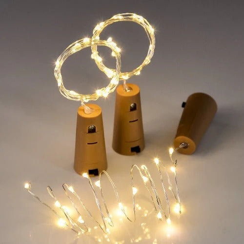 Apollo Lights- 20 LED Wine Bottle Cork Lights Copper Wire String Lights, 2M Battery Operated Wine Bottle Fairy Lights Bottle - Pack of 3, Warm White (Warm White) - Apollo Universe