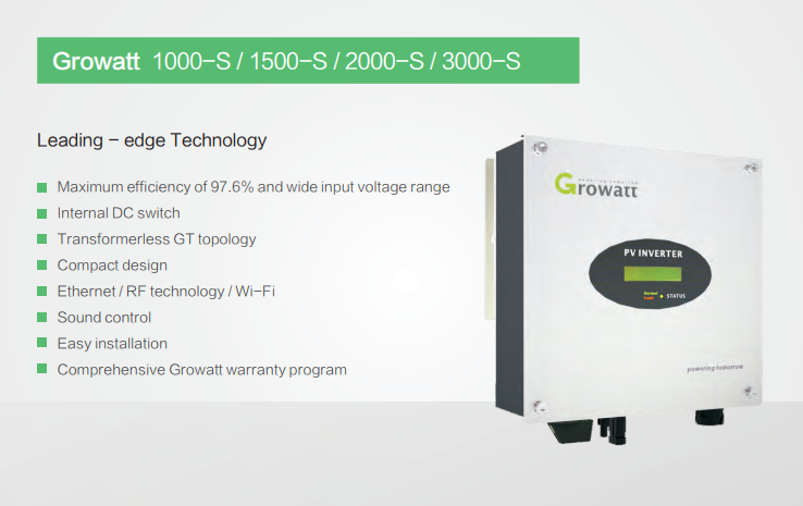 Growatt 3000-S, 3 Kilowatt ON-GRID Inverter with Wi-Fi - Apollo Universe