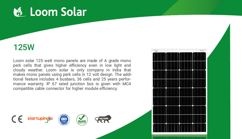Loom Solar 125 Watt - 12 Volts Mono Crystalline Solar Panel - Apollo Universe