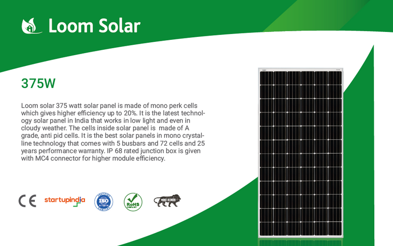 Loom Solar 375 Watt - 24 Volts Mono Crystalline Solar Panel (Pack of 6) - Apollo Universe