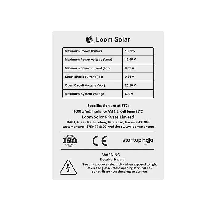 Loom Solar 180 Watt - 12 Volts Mono Crystalline Solar Panel (Pack of 4) - Apollo Universe