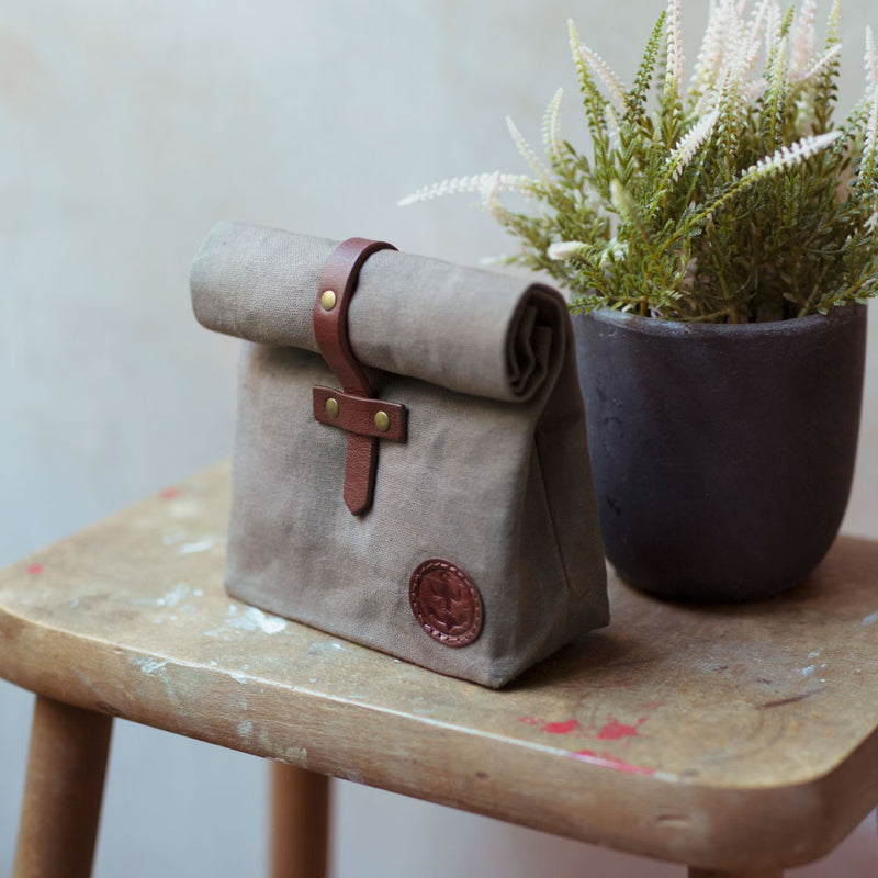 waxed cotton roll over wash bag