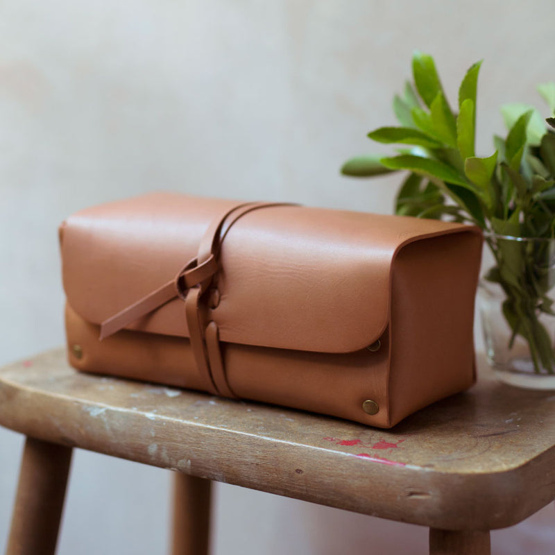 leather roll over cord wash bag