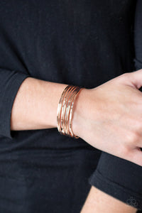 Timelessly Textured - Rose Gold Bracelet Paparazzi Accessories New