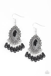Private Villa - Black Earrings Paparazzi New