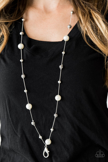 Paparazzi Eloquently Eloquent White Lanyard Necklace