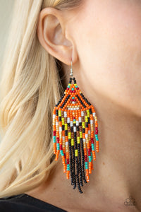 Boho Blast Seed Bead Earrings Black
