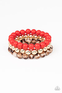 Paparazzi Courageously Couture Red Bracelet