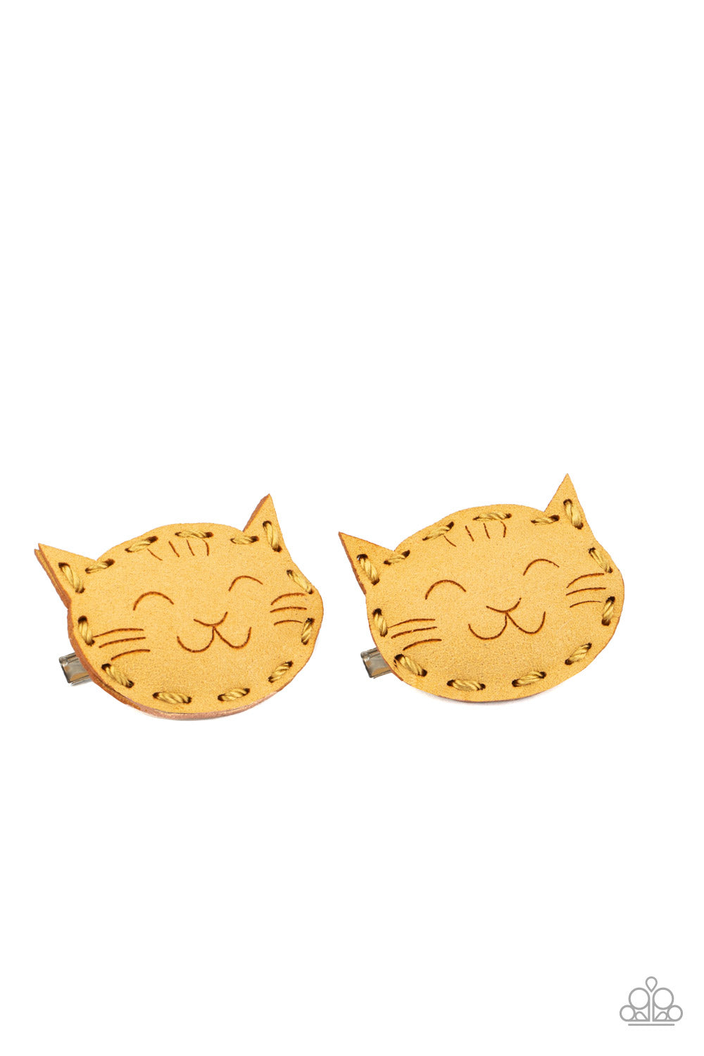 MEOW Youre Talking! Yellow Hair Clips Kitty Paparazzi Accessories New