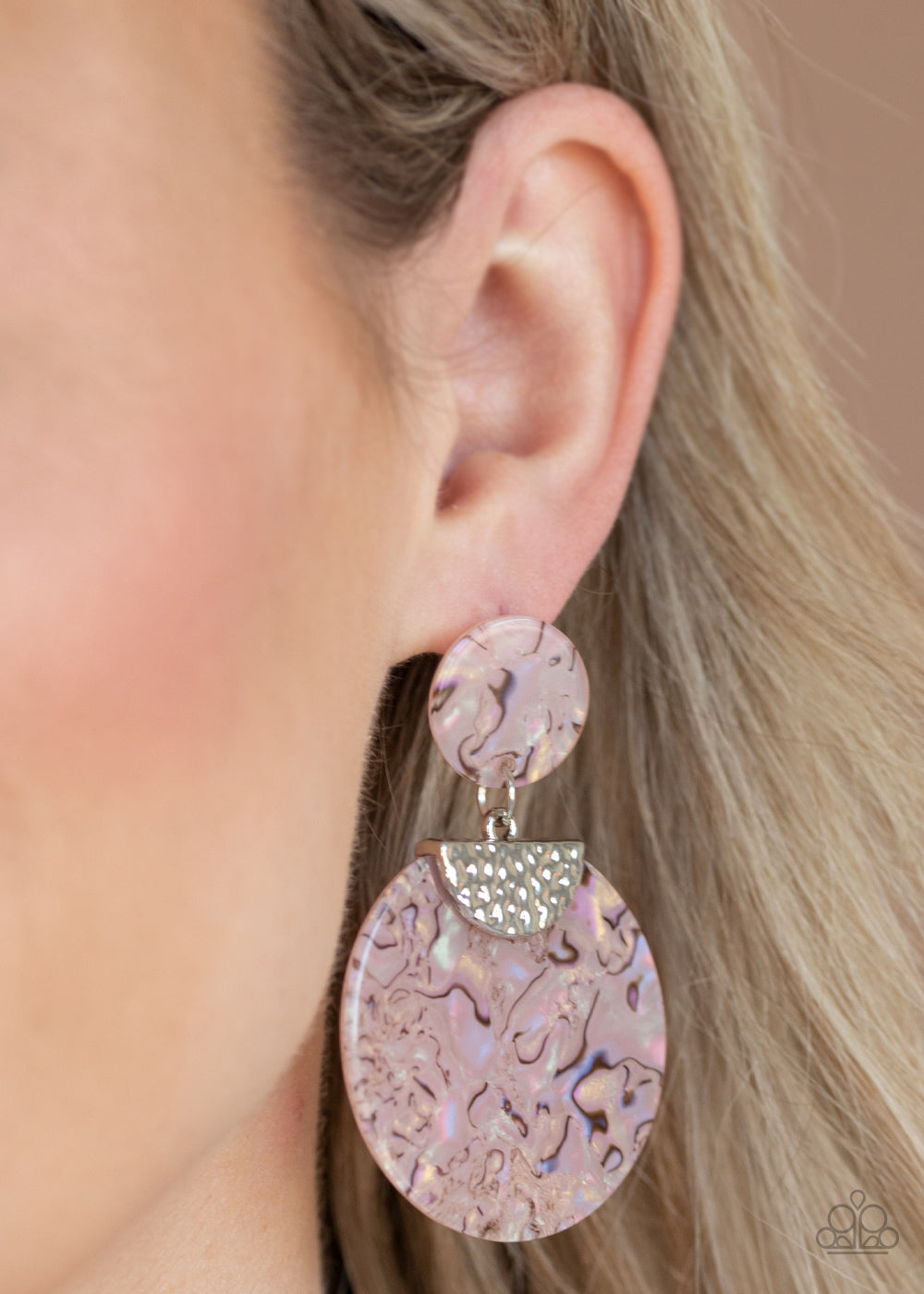 Really Retro-politan - Pink Acrylic Earrings Paparazzi Accessories New