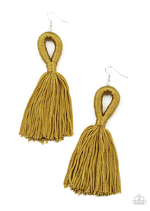 Tassels and Tiaras - Military Olive Green Tassel Earrings Paparazzi Accessories New