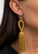 Load image into Gallery viewer, Tassels and Tiaras - Military Olive Green Tassel Earrings Paparazzi Accessories New
