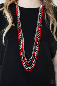 Paparazzi Industrial Vibrance - Red Chain Necklace